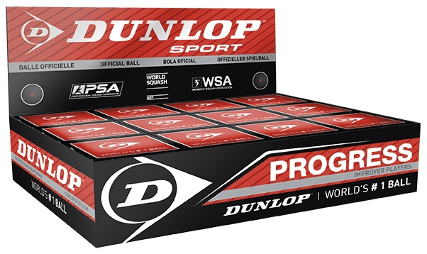 Dunlop Progress Squash Balls (1 Ball Box of 12)