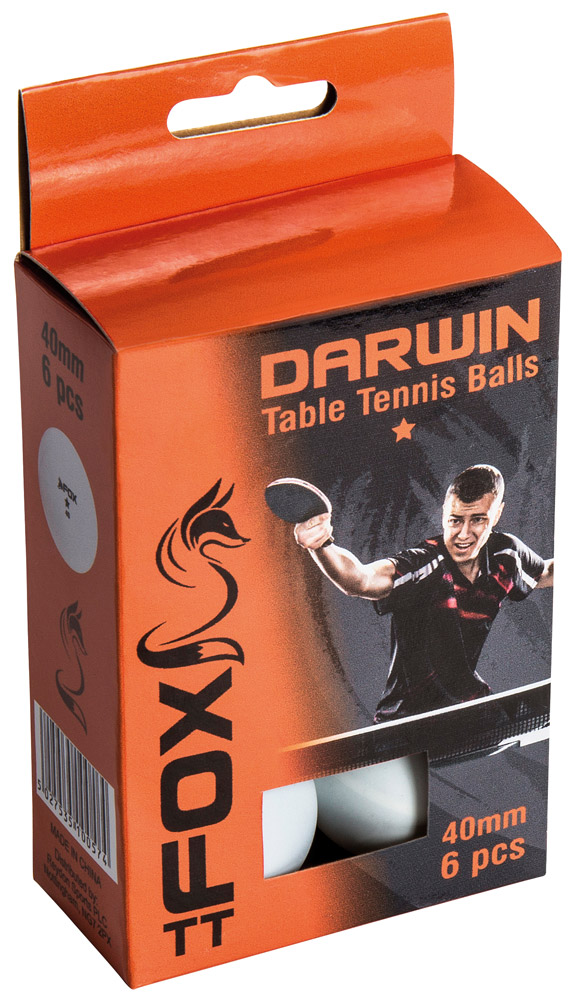 Fox Darwin 1 Star Table Tennis Balls (Pack of 6)