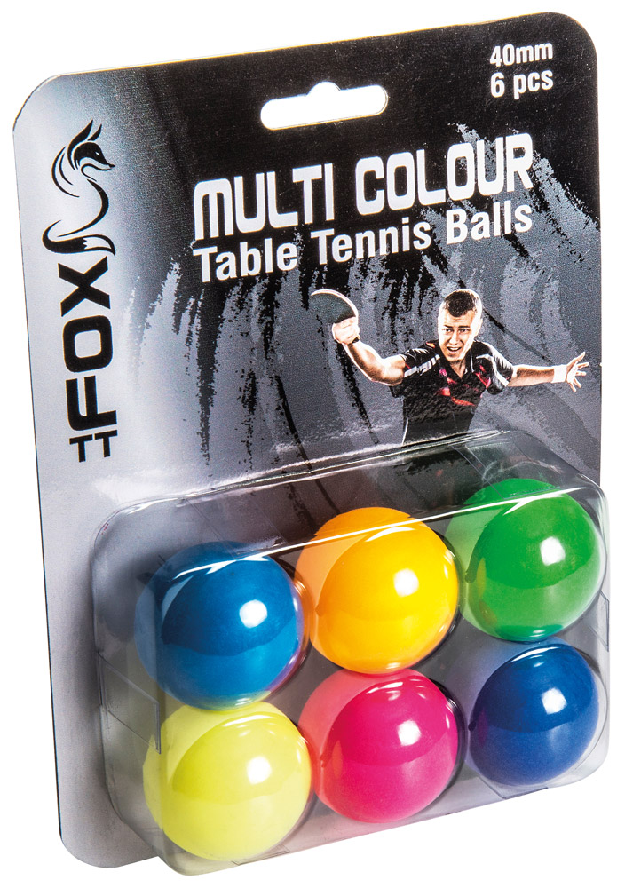 Fox Coloured Table Tennis Balls (Pack of 6)